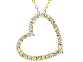 Pre-Owned White Cubic Zirconia 18K Yellow Gold Over Sterling Silver Heart Pendant With Chain 0.81ctw