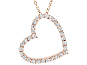 Pre-Owned White Cubic Zirconia 18K Rose Gold Over Sterling Silver Heart Pendant With Chain 0.81ctw
