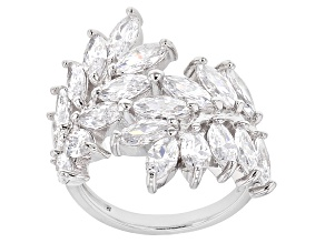 Pre-Owned White Cubic Zirconia Rhodium Over Sterling Silver Ring 7.80ctw