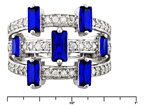 Pre-Owned Lab Created Blue Spinel And White Cubic Zirconia Silver Ring 1.95ctw