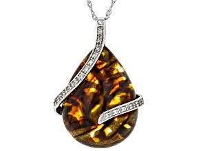 Pre-Owned Orange amber rhodium over silver pendant with chain