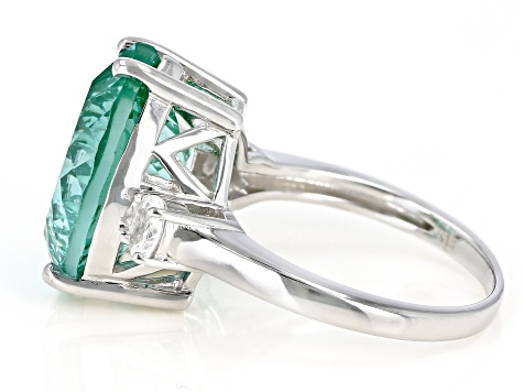 Pre-Owned Green Lab Created Spinel Rhodium Over Sterling Silver Ring 10.78ctw