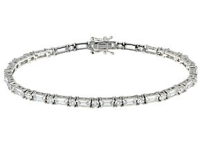 Pre-Owned White Cubic Zirconia Rhodium Over Sterling Silver Bracelet 13.73ctw