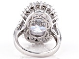 Pre-Owned White Cubic Zirconia Rhodium Over Sterling Silver Ring 24.43ctw