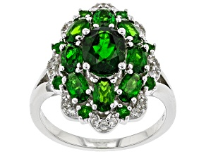 Pre-Owned Green Chrome Diopside Rhodium Over Silver Ring 3.54ctw