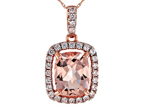 Pre-Owned Pink Morganite 10k Rose Gold Pendant With Chain 2.56ctw