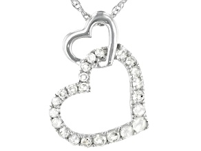Pre-Owned White Diamond Rhodium Over Sterling Silver Heart Pendant 0.20ctw