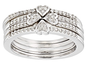 Pre-Owned White Diamond Rhodium Over Sterling Silver Set of 3 Heart Band Rings 0.25ctw