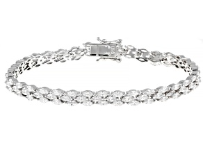 Pre-Owned White Cubic Zirconia Rhodium Over Sterling Silver Tennis Bracelet 3.12ctw