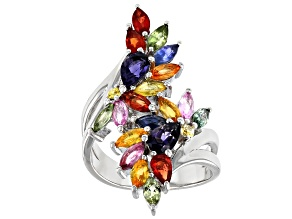 Pre-Owned Mixed-colors Sapphire Rhodium Over Silver Ring 3.73ctw