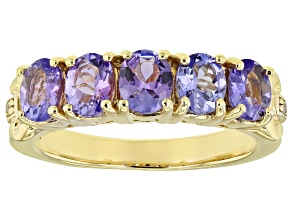Pre-Owned Blue tanzanite 18k yellow gold over silver ring 1.51ctw