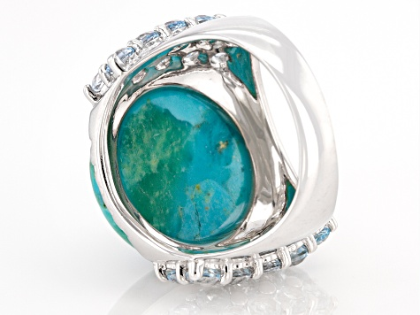 Pre-Owned Blue turquoise rhodium over sterling silver ring 2.38ctw