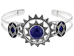 Pre-Owned Lapis Lazuli Rhodium Over Sterling Silver Cuff Bracelet