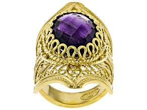 Pre-Owned 8.00CT Oval Amethyst 18K Yellow Gold Over Sterling Silver Ring