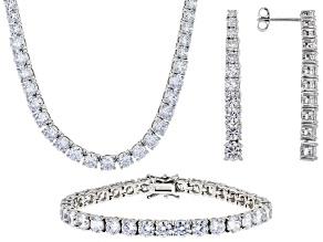 Pre-Owned White Cubic Zirconia Rhodium Over Silver Necklace, Bracelet, And Earrings 76.69ctw