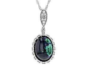 Pre-Owned Blue azurmalachite rhodium over silver enhancer with chain .36ctw