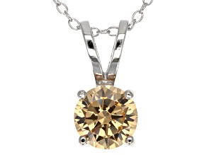 Pre-Owned 2.17ct Cubic Zirconia Sterling Silver Solitaire Pendant With 18