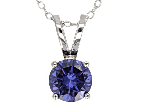 Pre-Owned 2.17ct Blue Cubic Zirconia Sterling Silver Solitaire Pendant With 18