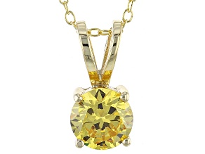 Pre-Owned 2.17ct Cubic Zirconia 18k Yellow Gold Over Sterling Silver Pendant With 18