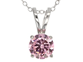 Pre-Owned 2.17ct Pink Cubic Zirconia Sterling Silver Solitaire Pendant With 18