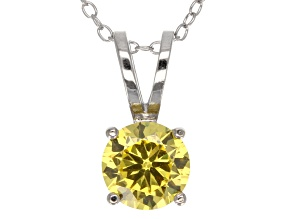Pre-Owned 2.17ct Yellow Cubic Zirconia Sterling Silver Solitaire Pendant With 18