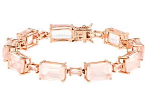 Pre-Owned Pink rose quartz 18k rose gold over sterling silver bracelet