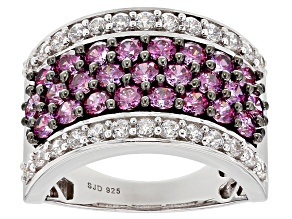 Pre-Owned Swarovski ® Purple Zirconia & White Cubic Zirconia Rhodium Over Sterling Silver Ring 4.10c