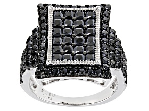 Pre-Owned Black Spinel Rhodium Over Sterling Silver Ring 3.25ctw