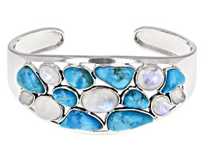 Pre-Owned Rainbow Moonstone And Turquoise Rhodium Over Silver Cuff Bracelet