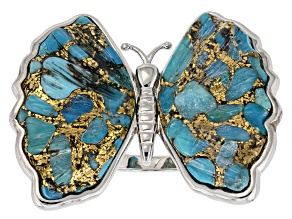 Pre-Owned Carved Turquoise Rhodium Over Sterling Silver Butterfly Ring