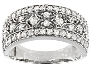 Pre-Owned White Diamond Rhodium Over Sterling Silver Ring 0.90ctw