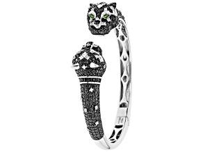 Pre-Owned Black Spinel Rhodium Over Silver Jaguar Cuff Bracelet 8.00ctw