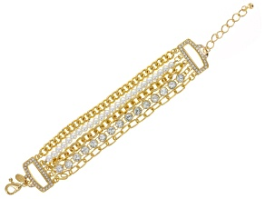 Pre-Owned White Crystal Pearl Simulant Gold Tone Multi Row Bracelet
