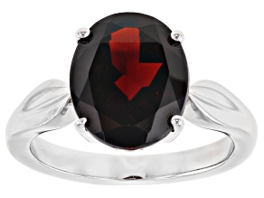 Pre-Owned Red Garnet Rhodium Over Silver Ring 5.00ct
