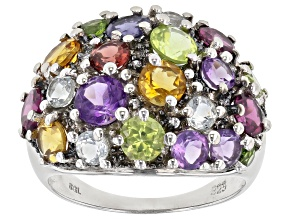 Pre-Owned Purple Amethyst Rhodium Over Silver Ring 3.91ctw