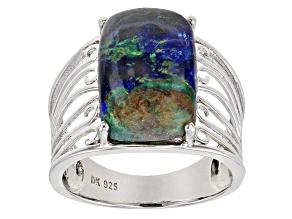Pre-Owned Blue Azurmalachite Rhodium Over Silver Ring