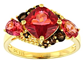 Pre-Owned Orange Lab Created Padparadscha Sapphire 18k Gold Over Silver Ring 3.02ctw