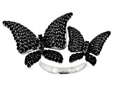 Pre-Owned Black Spinel Rhodium Over Sterling Silver Butterfly Ring 3ctw