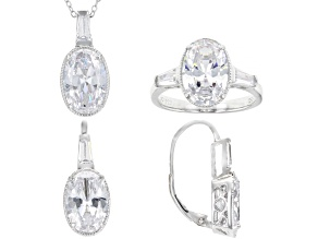 Pre-Owned White Cubic Zirconia Rhodium Over Sterling Silver Jewelry Set 20.36ctw