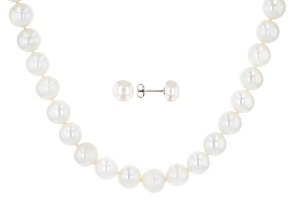 Pre-Owned White Cultured Freshwater Pearl 8-10.5mm Rhodium Over Sterling Silver Necklace & Earrings
