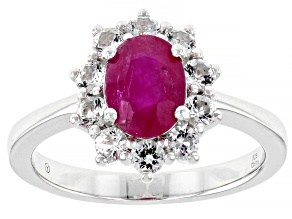 Pre-Owned Burma Ruby Rhodium Over Sterling Silver Ring 1.75ctw