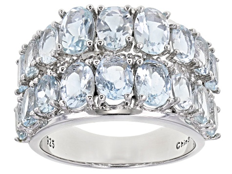 Pre-Owned Aquamarine Rhodium Over Sterling Silver Band Ring 5.30ctw