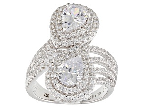 Pre-Owned White Cubic Zirconia Rhodium Over Sterling Silver Crossover Ring 4.80ctw