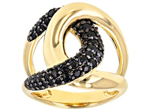 Pre-Owned 1.30ctw Black Spinel 18k Yellow Gold Over Bronze cross over ring.