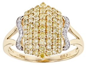 Pre-Owned Yellow And White Diamond Ring 10k Yellow Gold .74ctw