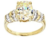 Pre-Owned White Fabulite Strontium Titanate And White Zircon 10k Yellow Gold Ring 4.46ctw