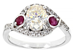 Pre-Owned Fabulite Strontium Titanate And Mozambique Ruby With White Zircon Rhodium Over Silver Ring