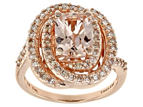 Pre-Owned Pink Cor De Rosa Morganite™ 10k Rose Gold Ring 2.22ctw