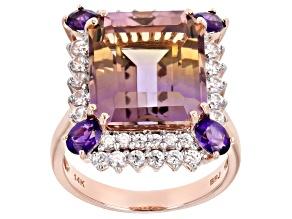 Pre-Owned Bi-Color Ametrine 14k Rose Gold Ring 9.86ctw