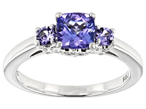 Pre-Owned Blue tanzanite rhodium over sterling silver 3-stone ring 1.05ctw